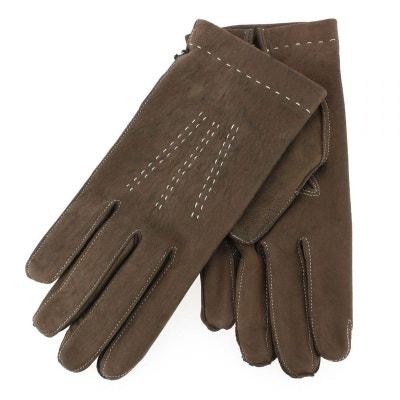 ee6c6c9e827a Gant cuir marron Luxe, agneau, fait main en Italie Gant cuir marron Luxe,