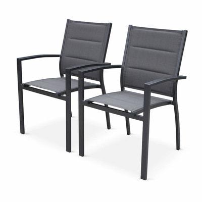Lot de 2 fauteuils - Chicago   Odenton   Philadelphie Anthracite - En  aluminium et textilène 4c7714debe67