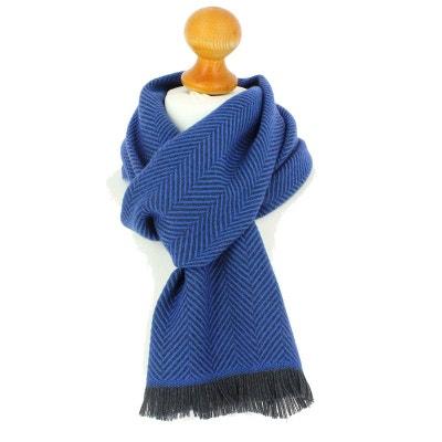Echarpe rayée en laine d Australie, 35x180cm, Bleu malte. Echarpe rayée en f88bb7d8485