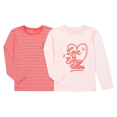 Confezione da 2 T-shirt maniche lunghe 3 - 12 anni Confezione da 2 T-shirt maniche lunghe 3 - 12 anni LA REDOUTE COLLECTIONS