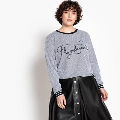 9ff33cb3bb84f Embroidered Slogan Cotton T-Shirt CASTALUNA PLUS SIZE