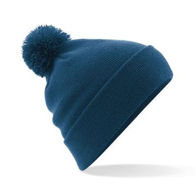 Bonnet bleu marine a pompon en solde   La Redoute 34772bf2916
