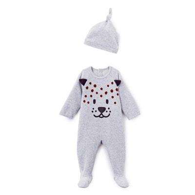 Pyjama velours imprimé + bonnet 0 mois - 3 ans LA REDOUTE COLLECTIONS 050840cf152