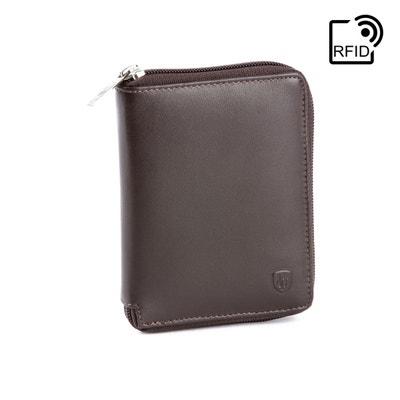 9d8daee707fe DV Portefeuille pour homme avec Fermeture éclair zip en Cuir Nappa sécurisé  avec système RFID et