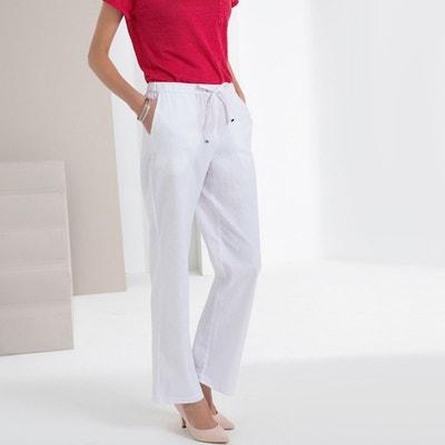 7b999d593636 Pantalon coton blanc femme