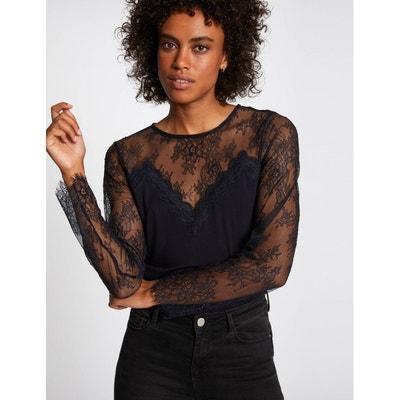 Tee shirt manche longue dentelle | La Redoute