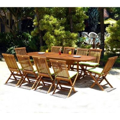 ensemble 10 places salon de jardin en teck huilé table 180-240 cm ensemble  10 4cdb7730bff5