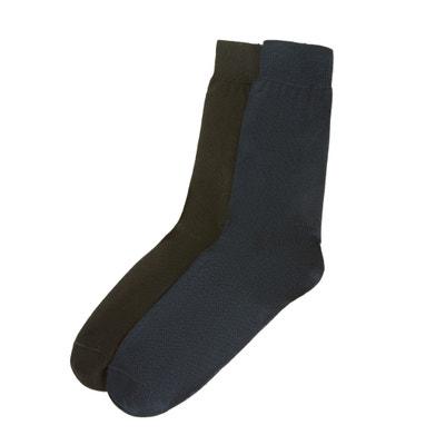 526e3a5f7e58e Lot de 2 paires chaussettes unies en fil d Ecosse Lot de 2 paires  chaussettes