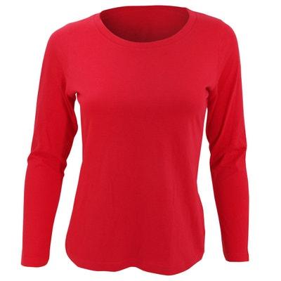 Tee shirt manche longue rouge   La Redoute