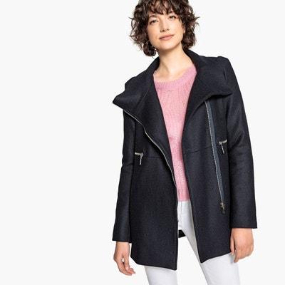 Manteau court zippé, col montant, 60% laine Manteau court zippé, col montant, 60% laine LA REDOUTE COLLECTIONS