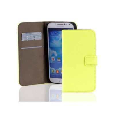 9e032ea750 Etui porte-feuille croco jaune fluo en similicuir pour Samsung Galaxy S4  I9500 Etui porte