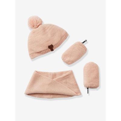 Ensemble bonnet + tour de cou + moufles irisés doublés bébé fille VERTBAUDET e5ce7f3673e