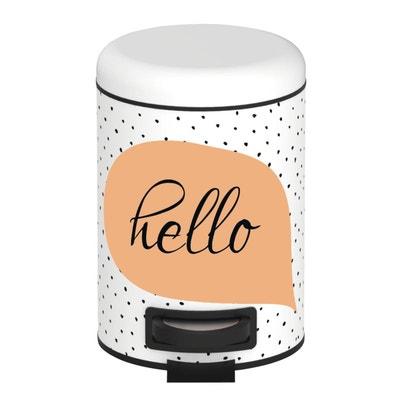 Poubelle à Pédale Hello   3 L   Blanc Et Orange Poubelle à Pédale Hello