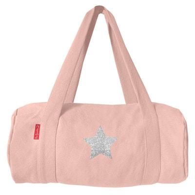 af6054bd5e Sac de voyage rose poudré coton motif étoile argent pailleté Sac de voyage  rose poudré coton