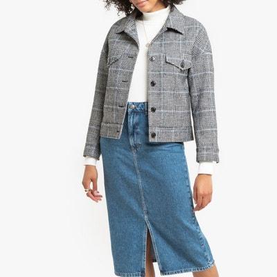 Veste courte femme gris clair
