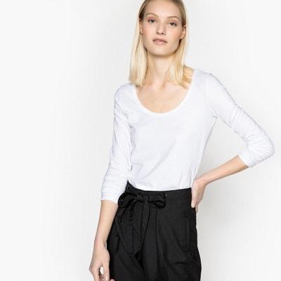manga y cuello manga stretch con cuello Camiseta larga redondo con stretch Camiseta larga redondo y F7WTAqgw