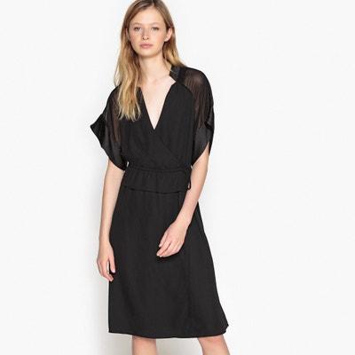 Vestido negro y kimono