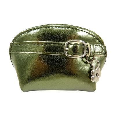 bbe0cfbefd Petit porte monnaie bourse zippé pour femme métallisé avec petite fleur  métal CHAUSSMARO