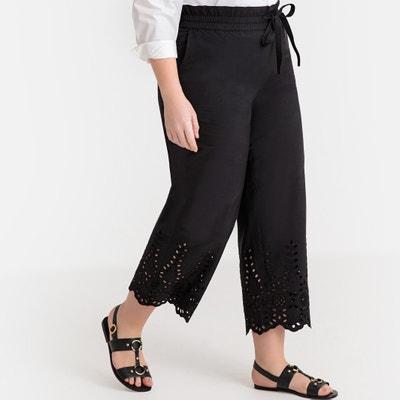 c67f193b6394 Pantaloni larghi vita alta, fondo ricamato Pantaloni larghi vita alta, fondo  ricamato LA REDOUTE
