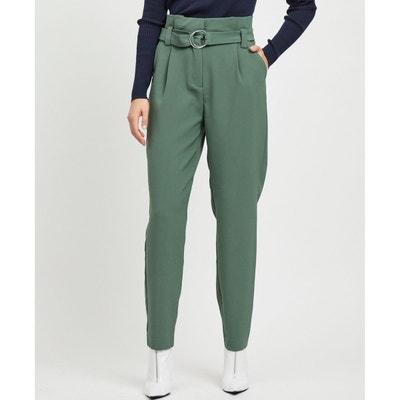 c5550d6919398 Pantalon taille haute avec ceinture et plis taille VILA