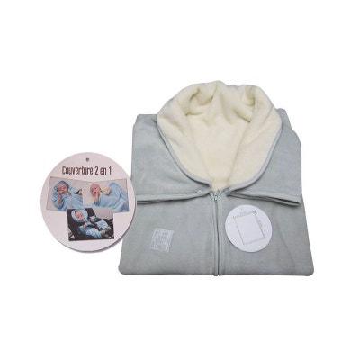 1cb717c077fd Couverture bébé 2 en 1, polaire grise-écru LES CHATOUNETS