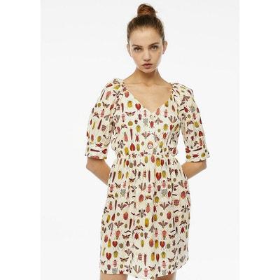 Korte jurk met motiefjes, korte mouwen met fronsjes Korte jurk met motiefjes, korte mouwen met fronsjes COMPANIA FANTASTICA