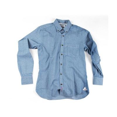 Chemise denim bleu clair à micro-motifs Chemise denim bleu clair à  micro-motifs. Soldes ea2e17d9bfa