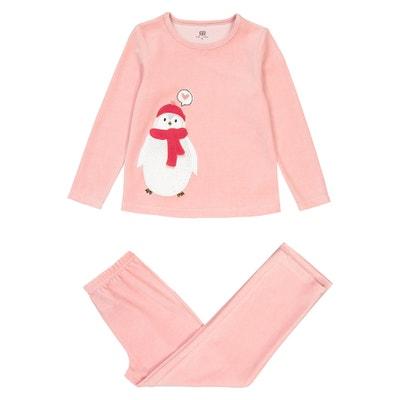 Pyjama in fluweel, geborduurd pinguin motief 3-12 jaar Pyjama in fluweel, geborduurd pinguin motief 3-12 jaar LA REDOUTE COLLECTIONS