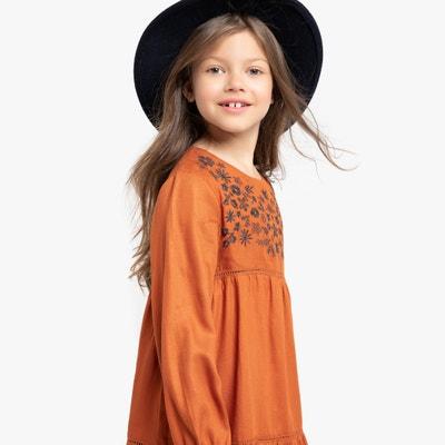 Wijde jurk met lange mouwen, geborduurd 3-12 jaar Wijde jurk met lange mouwen, geborduurd 3-12 jaar LA REDOUTE COLLECTIONS