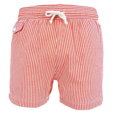 Maillot Short de bain homme Jim rayé fond blanc - rouge ou bleu LES LOULOUS  DE fd004c0ba76
