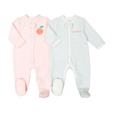 Lot de 2 pyjamas naissance en velours préma–2 ans Lot de 2 pyjamas naissance f8db6d3b19f
