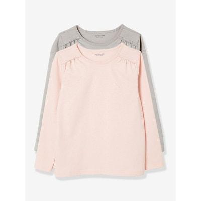 Lot de 2 T-shirts fille manches longues VERTBAUDET 5b51dbb32e7