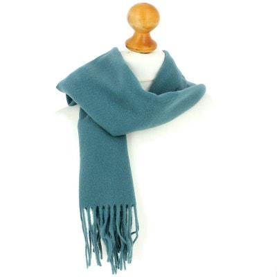 Echarpe bleu lagon luxe unie en laine d Australie, 37x180cm TONY ET PAUL c705b47ae9c