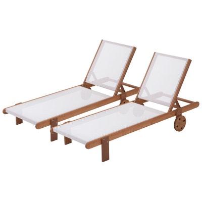"""Bain de soleil en bois exotique """"Saïgon"""" - Maple - Ecru - Lot de 2 Bain de soleil en bois exotique """"Saïgon"""" - Maple - Ecru - Lot de 2 HABITAT ET JARDIN"""