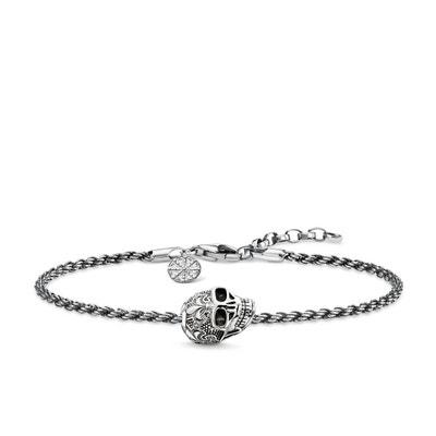 THOMAS SABO Bracelet Tête De Mort Avec Lys Argent sterling 925, noirci 19  SET0362- ec34dbd98bb0