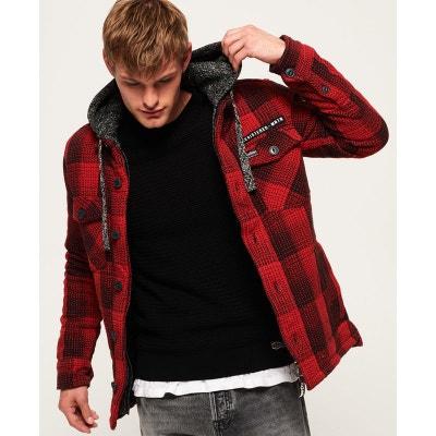 veste en laine homme carreau rouge