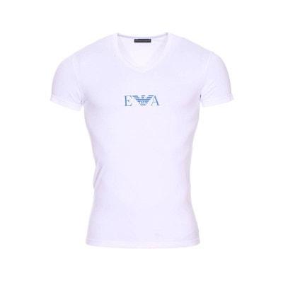 06a756c6a27 Tee-shirt col V en coton stretch floqué du logo en roi Tee-shirt. EMPORIO  ARMANI