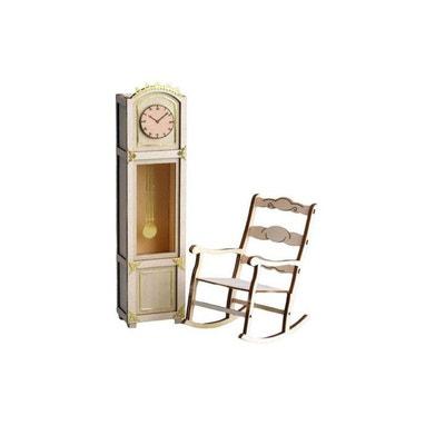 Maquette En Bois Art Wood Horloge Avec Mecanisme Et Chaise A Bascule ARTESANIA BEATRIZ
