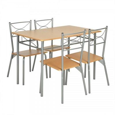 Ensemble Table Rectangulaire Et 4 Chaises Style Industriel En Bois Metal CALICOSY