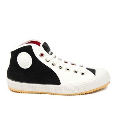 7354c3ade1ac2 Baskets montantes toile noire et blanche Partizan Black Baskets montantes  toile noire et blanche Partizan Black
