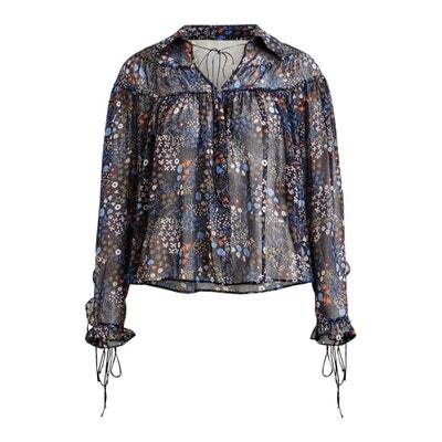 Блузка с круглым вырезом, графическим рисунком и длинными рукавами Блузка с круглым вырезом, графическим рисунком и длинными рукавами VILA
