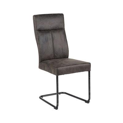 Chaise En Tissu Microfibres Gris Et Pieds Metal Noir 45x61x99cm PIER IMPORT