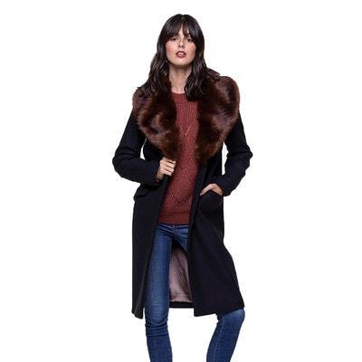 Manteau femme bleu marine col fourrure   La Redoute
