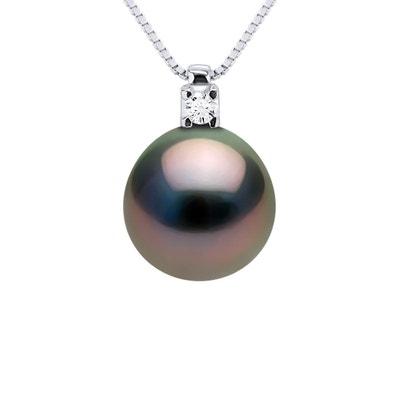 """18/"""" Véritable 13-15 mm Naturel rond noir Collier de perles #f2462!"""