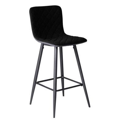 Chaise De Bar Tissu Noir Capitonne Et Pieds Metal 42x49xH100cm MALMOE