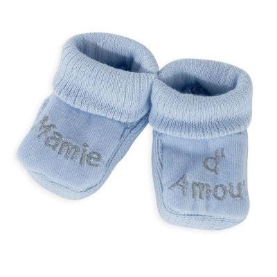 ad4e5e8a4b6aa 1 paire de chaussons naissance bleue - Mamie d amour 1 paire de chaussons  naissance