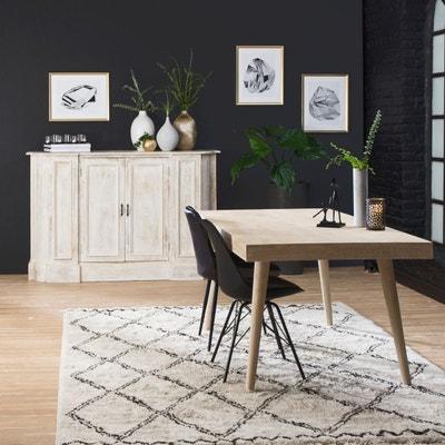 Superbe Table à Manger Bois Sculpté Blanchi Pieds Compas | UB17 MADE IN MEUBLES