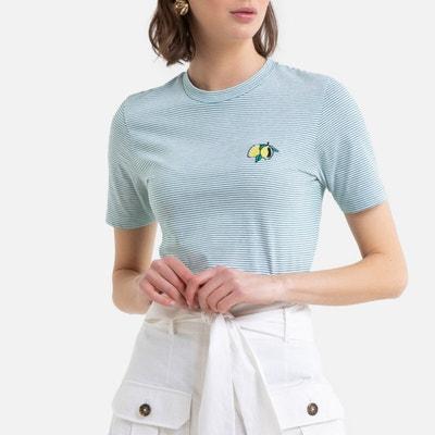 Gestreept T-shirt met ronde hals en borduursel Gestreept T-shirt met ronde hals en borduursel LA REDOUTE COLLECTIONS