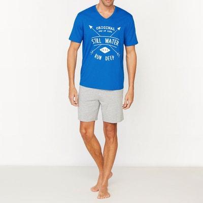 92c88851ba6d4 Pyjashort avec col V en jersey pur coton Pyjashort avec col V en jersey pur  coton