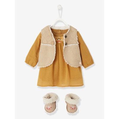Ensemble bébé robe crépon + gilet sans manche + chaussons brodé VERTBAUDET b8d93ca139a